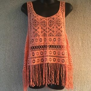 Active Brand Coral Crochet Fringed Tanktop